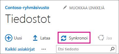 SharePoint-tiedostokirjaston Synkronointi-komento