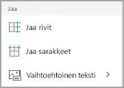 Windows Mobile jakaa taulukon sarakkeita ja rivejä