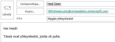 Sähköpostiviesti, jonka Kopio-rivillä on sivuston postilaatikon sähköpostiosoite.