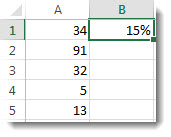 Luvut sarakkeessa A, soluissa A1–A5, 15 % soluissa B1