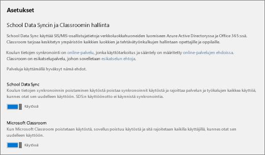 Näyttökuva koulun tietojen synkronoinnin asetuksista, joilla otetaan koulun tietojen synkronointi käyttöön tai poistetaan se käytöstä.