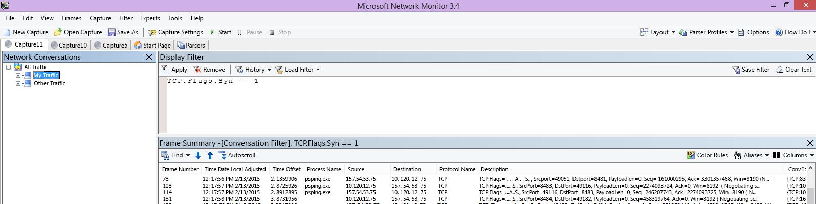 Netmon-seuranta asiakaskoneesta osoittaa saman PSPing-komennon suodattimen TCP.Flags.Syn == 1 kautta.