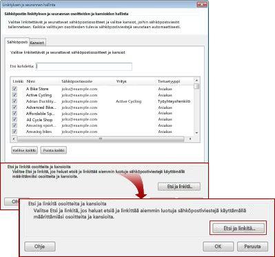 Linkityksen ja seurannan hallinta -valintaikkuna, jossa haku- ja linkkipainikkeet on korostettu.