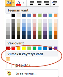 Viimeksi käytetyt värit -asetus