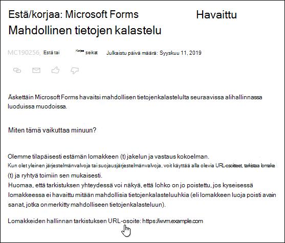 Osoita lomakkeet-järjestelmänvalvojan Tarkista URL-hyperlinkki Microsoft 365-hallinta keskuksessa Lähetä tietoja Microsoft Formsin ja tietojen kalastelun havaitsemisesta