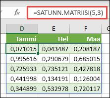 SATUNN.MATRIISI-funktio Excelissä. SATUNN.MATRIISI(5,3) palauttaa satunnaisia arvoja väliltä 0–1 matriisiin, joka on 5 riviä korkea ja 3 saraketta leveä.