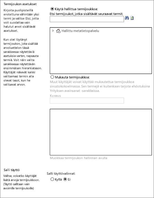 Hallitut metatiedot -sarakkeen vaihtoehdot
