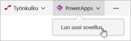 PowerApp-valikkokomento komentopalkissa, Luo PowerApp-sovellus on korostettuna.