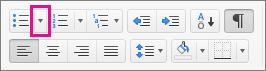 Valitse luettelomerkit tai lisää niitä napsauttamalla luettelomerkkikuvakkeen vieressä olevaa nuolta.
