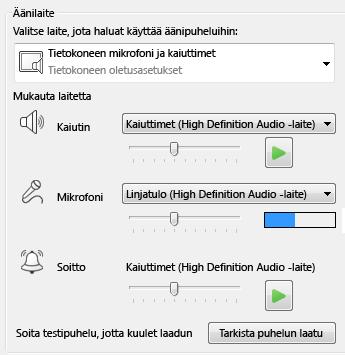 Kuva äänilaitteen valintaikkunasta, jossa voit määrittää äänen laatuun liittyvät asetukset