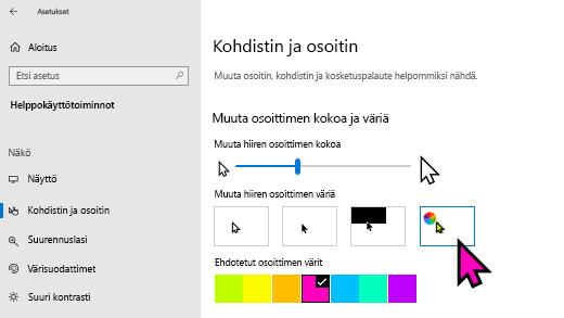 Osoittimen koon ja värin muuttaminen Windows 10: n asetukset-sovelluksessa