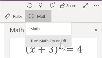 Matemaattisen toiminnon ottaminen käyttöön tai poistaminen käytöstä