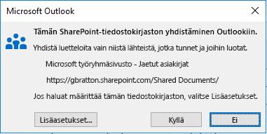 Yhteyden muodostaminen SharePoint-tiedostokirjastoon