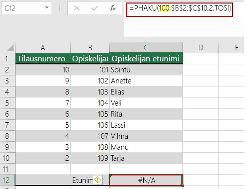 PUUTTUU-virhe PHAKU-funktiossa, kun hakuarvo on pienempi kuin pienin matriisissa oleva arvo