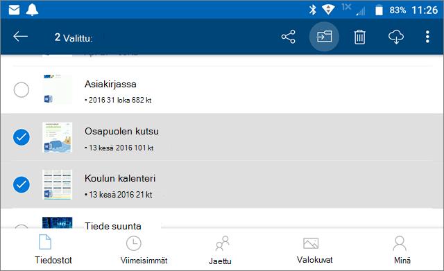 Tiedostojen siirtäminen OneDrivessa