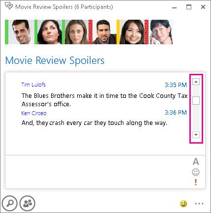 Keskusteluryhmän näyttökuva, jossa on korostettuna selauspalkki oikealla historian selaamista varten.