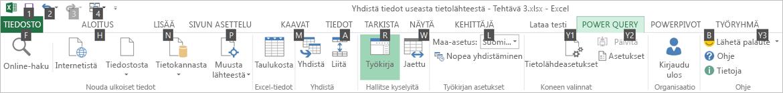 Data Explorer (Tietoresurssien hallinta) -valintanauhan näppäinvihjeet 2