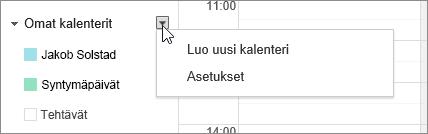 Valitse Omat kalenterit ja valitse sitten Asetukset.