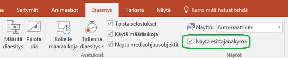 PowerPointin diaesitys sisältää valintaruudun, jolla voi määrätä, käytetäänkö esittäjänäkymää, kun esitystä näytetään muille.