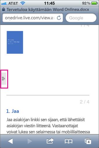 Avaa työkalurivi Office Mobile -katseluohjelmissa napauttamalla