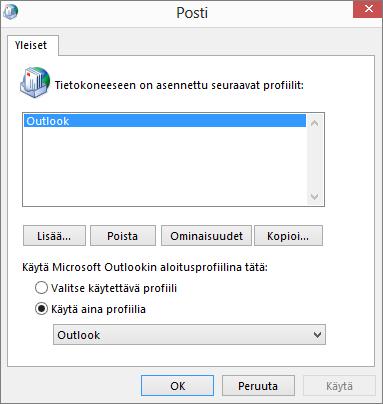 Sähköpostin ominaisuusikkuna, jonka avulla lisätään tai poistetaan Outlook-tilin profiili