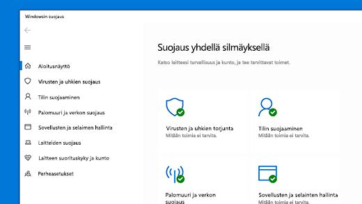 Windowsin suojauksen aloitussivu
