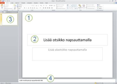 PowerPoint 2010:n työtila, eli normaalinäkymä, ja sen neljä osaa.
