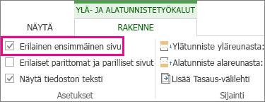 Kuva, jossa näkyy Erilainen ensimmäinen sivu -valintaruutu Ylä- ja alatunnistetyökalut -osan Asetukset-kohdassa.