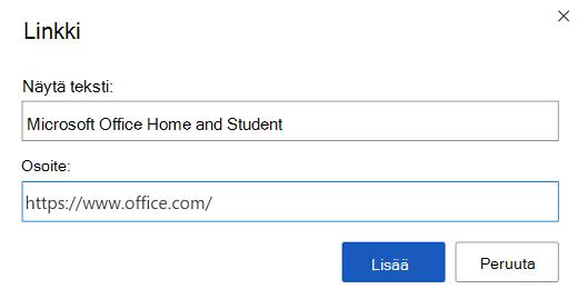 Linkin lisääminen -valintaikkuna Wordin verkkosovelluksessa.