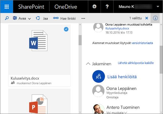 Näyttökuva Tiedot-ruudusta OneDrive for Businessissa SharePoint Server 2016:ssa, jossa on Feature Pack 1
