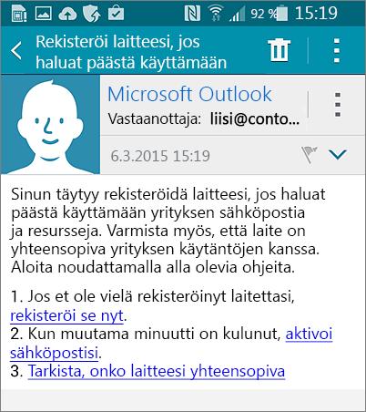 Androidin rekisteröitymissähköposti
