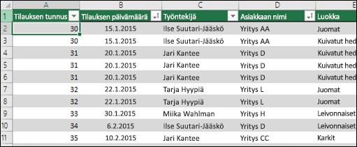 Mallitietoja Excel-taulukossa, jota käytetään Pivot-taulukon tietolähteenä