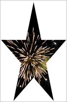 Tähtimuoto, jossa on kuva ilotulituksesta