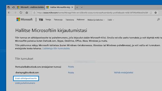 Kirjaudu Microsoft Tilillesi