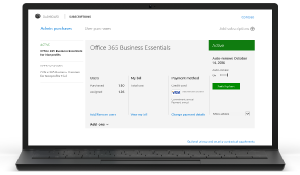 Näyttökuva Office 365:n hallintaportaalin tilaustenhallintasivusta