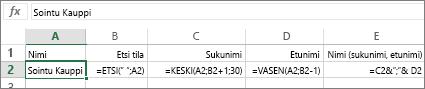 Kaavat, jotka muuntavat nimen muotoon Sukunimi, Etunimi