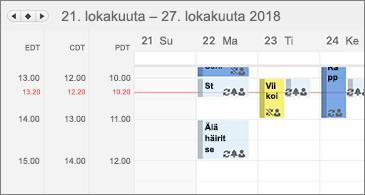 Kalenteri, jossa näkyy kolme aikavyöhykettä