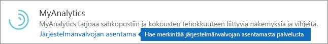Järjestelmänvalvoja asensi apuohjelman Outlook-kaupassa.