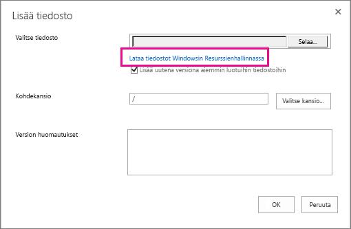 Valitse Lataa tiedostot Windowsin Resurssienhallinnassa.