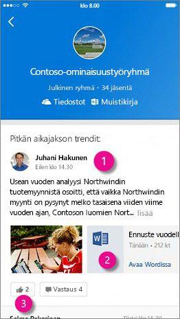 Outlookin ryhmien mobiilialoitussivu