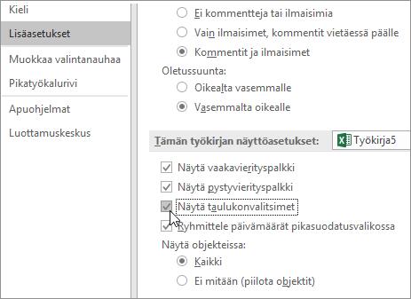 Näytä taulukonvalitsimet Excelin asetuksissa