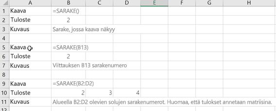 Esimerkkejä SARAKE-funktiosta