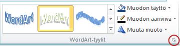 WordArt-tyylit -valintaikkunan avain