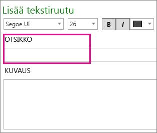 Tekstiruutu-valintaikkuna, jossa otsikko näkyy korostettuna