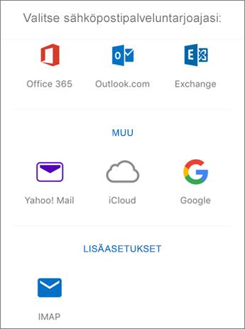 IMAP-sähköpostin määrittäminen Outlook for iOS:ssä, vaihe 4