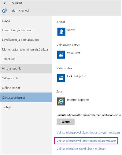 Näyttökuva Windows 10:n Valitse oletussovellukset protokollan mukaan -asetuksesta.