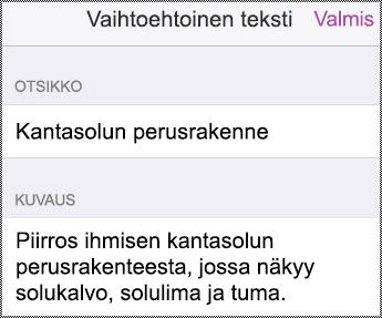 IPhonen Vaihtoehtoinen teksti -valintaikkuna.