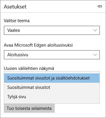 """Edge-asetukset """"Oma Office 365"""" -välilehden näyttämiseen"""