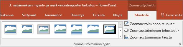 Näyttää eri zoomaustoiminnon tyylit ja tehosteet PowerPointin Muotoile-välilehdessä.