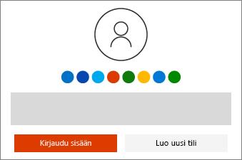 Kirjaudu sisään käyttämällä Microsoft-tiliä, tai luo sellainen.